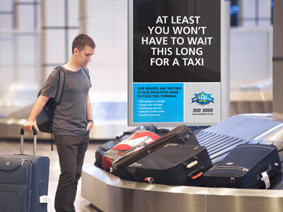 Airport lightbox advertising for taxi