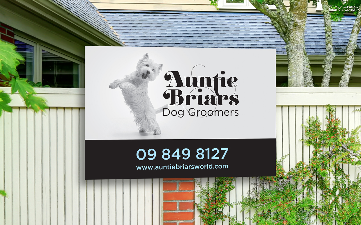 Sign for Auntie briars Dog Groomers